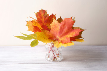 Maple leaves in vase in interior. Autumn colorful composition as decoration indoor.