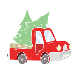 flat color style cartoon pickup truck carrying christmas trees