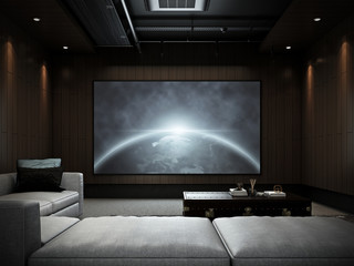 Modern Luxury Home Theater room #2 , 3D render