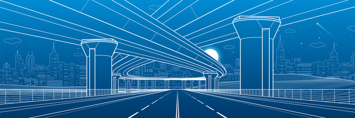 Wall Mural - City architecture and infrastructure illustration, automotive overpass, big bridges, urban scene. Night town. White lines on blue background. Vector design art