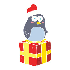 flat color illustration of a cartoon christmas penguin