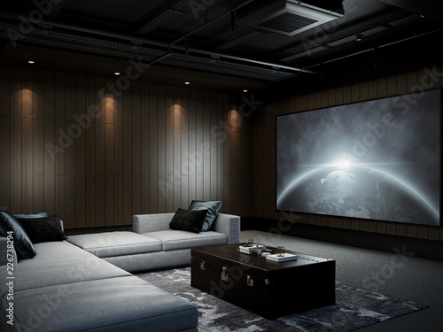 Modern Luxury Home Theater room 3D render\