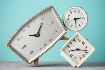 Retro alarm clocks stack time concept