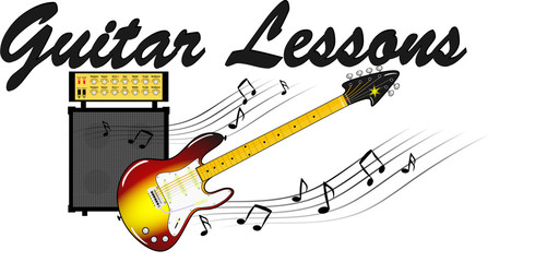 E-Gitarre mit Noten und Verstärker - Guitar Lessons