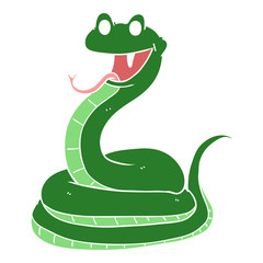 flat color style cartoon happy snake