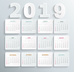 Simple calendar for 2019 year. Holiday event planner. Week Starts Sunday. Vector illustration.