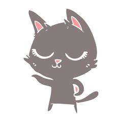 calm flat color style cartoon cat