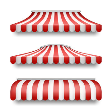 Vector realistic set of striped awnings isolated on background. Clipart with red and white tents, textile roofs for retail shops, markets, street fast food cafe. Decorative element for your design
