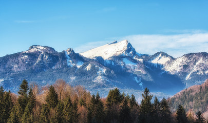 Mountain landscape with blue sky in sunny day - panoramic view.