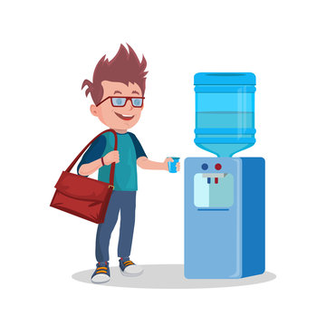 Vector Water Cooler and man with cup