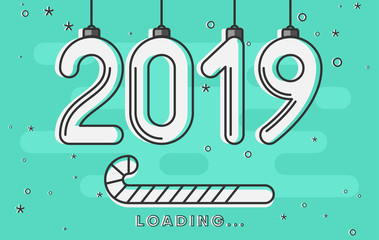 Christmas and New Year 2019 loading. Creative greeting card.