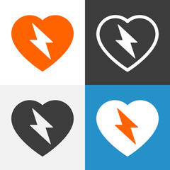 Heart with lightning bolt icon. Vector graphics.
