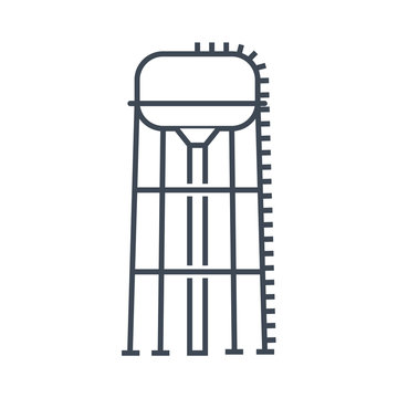 vector thin line icon water tower