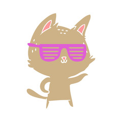 flat color style cartoon cat wearing cool glasses