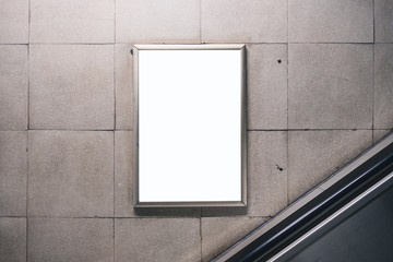 White blank space for advertisement on wall. Subway mock-up design.