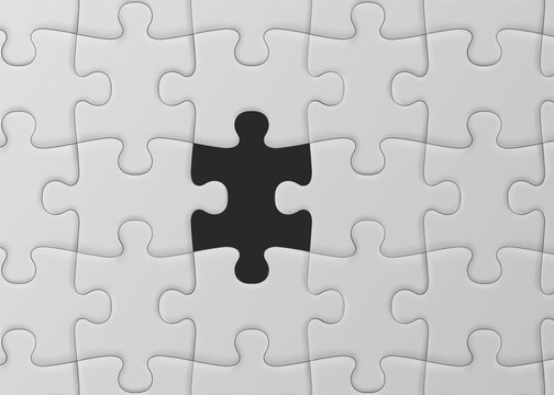 White jigsaw puzzle with missed piece. Solution concept. Vector illustration