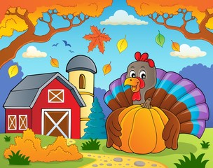 Turkey bird holding pumpkin theme 4