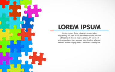 Colorful jigsaw puzzle. Blank simple background. Vector illustration