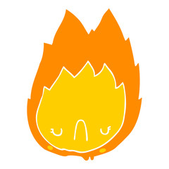 flat color style cartoon unhappy flame
