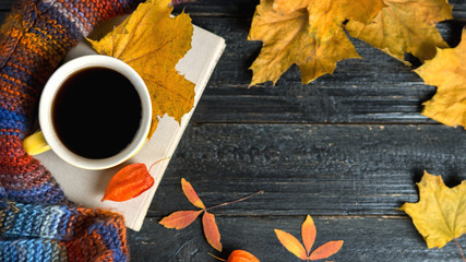Coffee mug, book and autumn leaves on a dark wooden table
