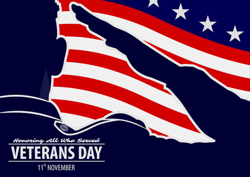 Veteran's day poster template. US Army soldiers saluting on american flag background. Vector illustration.