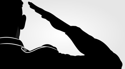 Soldier, officer saluting silhouette. Vector illustration.