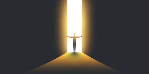 New Possibilities, Hope - Overcome Business Problems, Solution Finding, Vector Concept - Businessman Standing in Dark, Symbol of Light at the End of the Tunnel