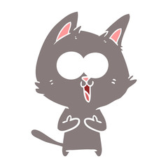 funny flat color style cartoon cat