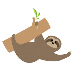 Sloth. Tree branch Cute cartoon character. Fluffy fur. Wild joungle animal collection. Baby education. Isolated. White background. Flat design