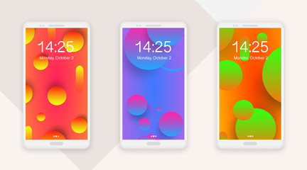 Smartphone mockup themes set, vector illustration, front view. Abstract gradient circles, vivid colors, motion fluid design.