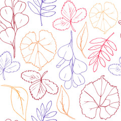 Vector hand drawn abstract of autumn leaves for white background. Decorative seamless pattern of leaves and branches. Bright red, yellow, orange, green illustration for design of paper and clothes.