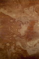 Spoed Foto op Canvas Wereldkaart Old wooden board with stains for background