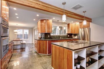Luxurious kitchen room with wooden cabinets.