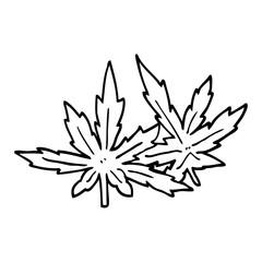 line drawing cartoon marijuana leaves