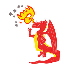flat color illustration of a cartoon happy dragon breathing fire