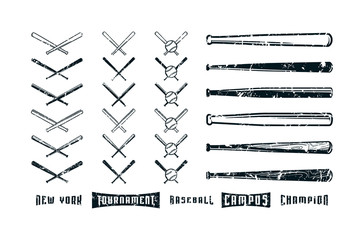 Set of images of baseball bats