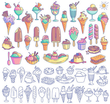 Ice cream vector set. Snow cone, icecream sandwich, banana split, milkshake, sorbet, sundae, gelato, frozen yogurt, scoop. Cartoon style illustration isolated on background