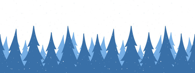 Seamless background. Template of Christmas greeting banner with winter snowy pine forest on white backdrop.