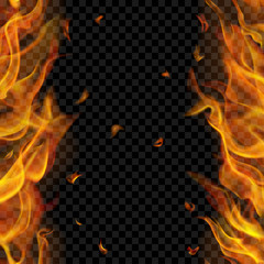 Translucent fire flame with vertical seamless repeat on two sides, left and right, on transparent background. For used on dark backgrounds. Transparency only in vector format