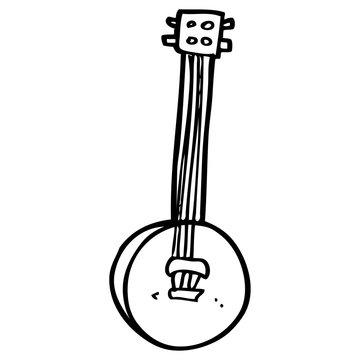 line drawing cartoon old banjo