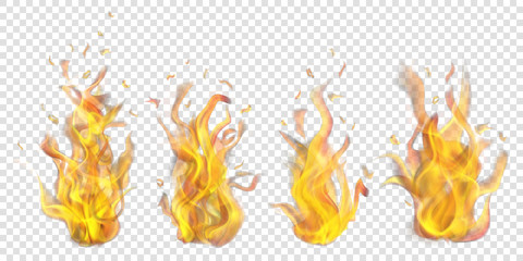 Set of translucent burning campfires on transparent background. For used on light backdrops. Transparency only in vector format
