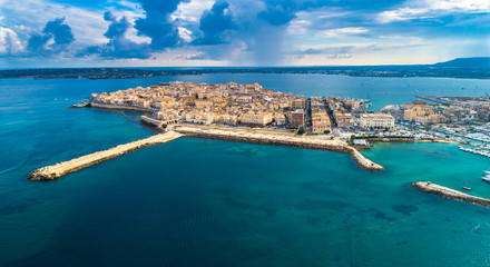 Aerial. Ortigia a small island which is the historical centre of the city of Syracuse, Sicily. Italy. Wall mural