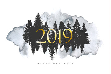 2019 Merry Christmas and Happy New year background with silhouettes forest trees and watercolor texture.Vector illustration for holiday greeting card, invitation, party flyer, poster, banner.