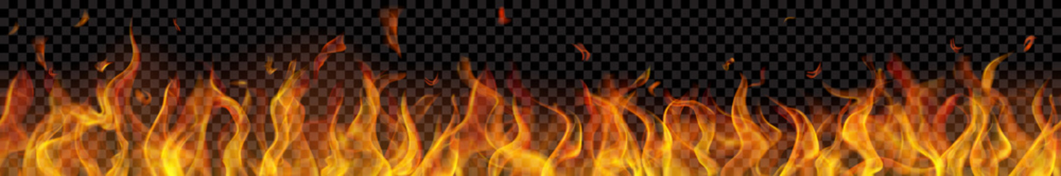 Translucent long fire flame with horizontal seamless repeat on transparent background. For used on dark backgrounds. Transparency only in vector format