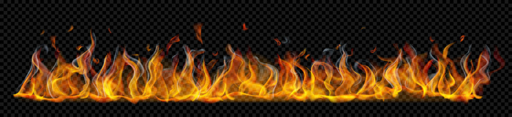Translucent long horizontal fire flame with smoke on transparent background. For used on dark backgrounds. Transparency only in vector format