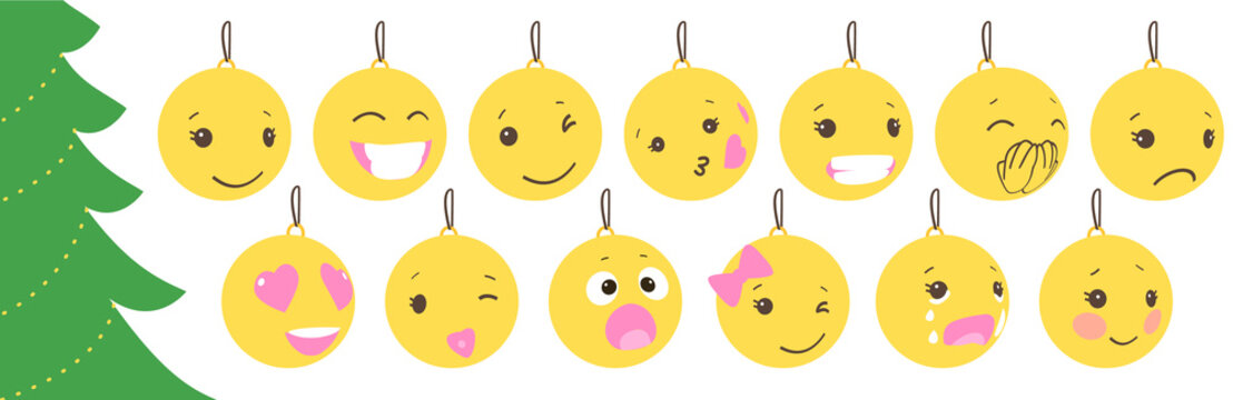 Set of christmas yellow balls with cute face. Emoticons on bubble toys. Vector for decoration holiday xmas tree. Element of design Happy New Year sale banner, flyer, poster, background. Fun childlike