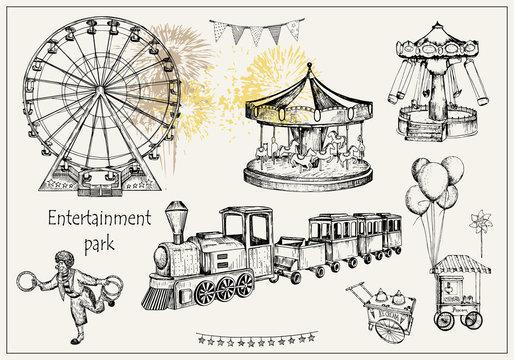 Vector sketch illustration. Pen style vector objects. Entertainment park set : carousel, ferris whee, swing, popcorn machine, ice cream, flags, balloons, train, firework