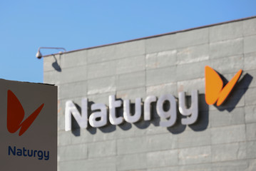 """The logo of Spanish energy company """"Naturgy"""" is seen in its headquarters in Madrid"""