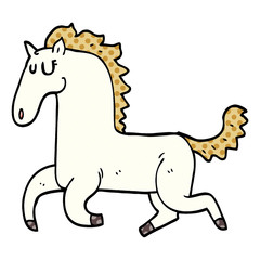 cartoon doodle running horse