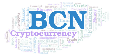 BCN or Bytecoin cryptocurrency coin word cloud.